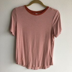 Striped Old Navy Luxe Tee, Rust, New